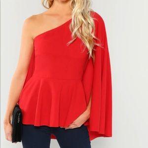 Off Shoulder Peplum Blouse Top Red